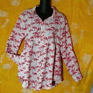 Anthropologie by Entro, Flamingos print blouse